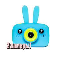 Original Детский цифровой фотоаппарат Children`s fun Голубой Зайчик 20Мп Селфи Selfie (BBS)