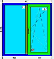 Двойное металлопластиковое окно KBE 1300х1400
