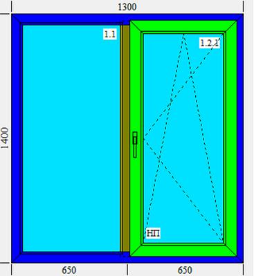 Двойное металлопластиковое окно KBE, 1300х1400