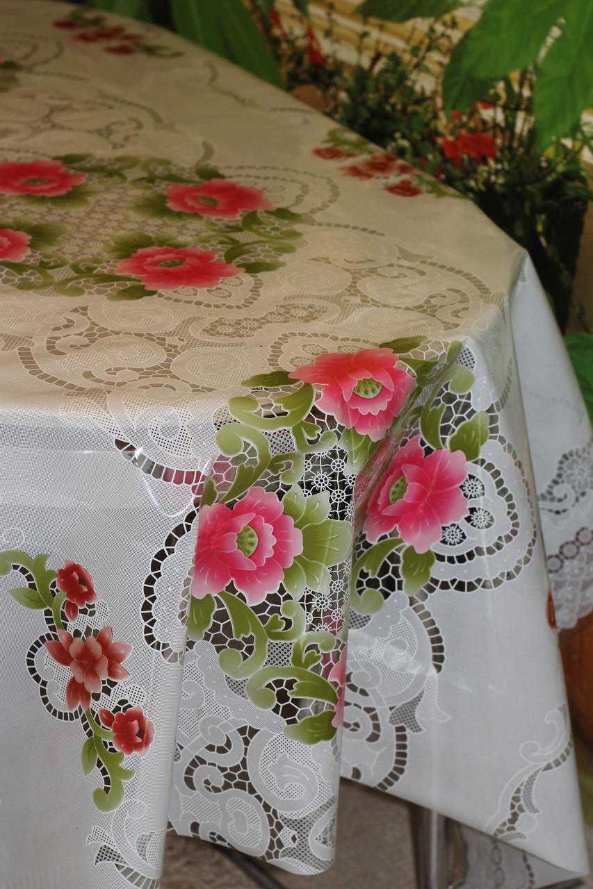 Клеёнка полупрозрачная силиконовая Розовые цветы на белоснежной скатерти