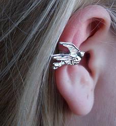"""Кафф """"Птица"""". Украшения для уха."""