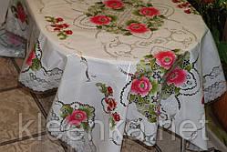 Клеёнка полупрозрачная силиконовая Розовые цветы на белоснежной скатерти, фото 3