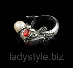 Красивое кольцо ввиде рыбы с жемчужиной от Студии LadyStyle.Biz, фото 1