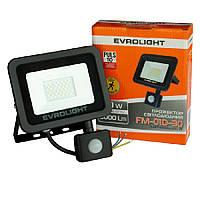 Прожектор світлодіодний з датчиком руху EVROLIGHT FM-01D-30 30W 6400К, фото 1