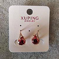 Серьги Xuping с красными камнями и белыми стразами 9х15мм Позолота 18К