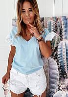 Жіноча блузка софт з батистових прошвой блакитного кольору SKL11-293710