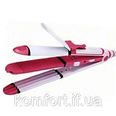 Прилад для укладання волосся 3в1 Kemei КМ-1291 плойка гофре утюжок