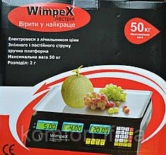 Електронні торгові ваги Wimpex 50 кг з лічильником ціни