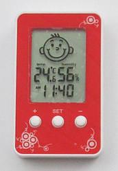 Часы термометр гигрометр смайлик Dm-3190