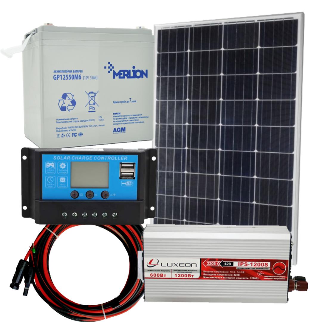 """160 Вт Комплект автономної сонячної станції """"Холодильник на дачі-2"""" інвертор 600 Вт з чистою синусоїда"""