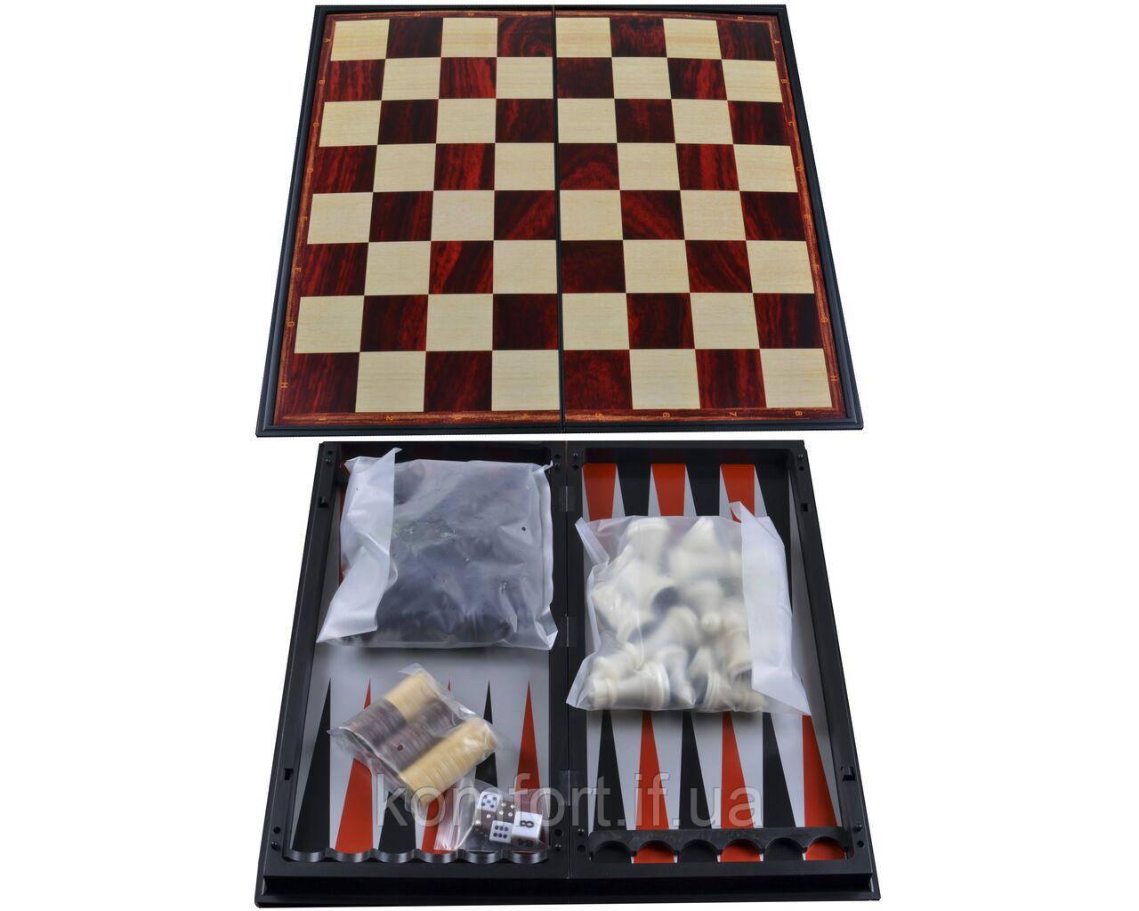 Набор 3в1 №37710 Нарды,Шахматы,Шашки 25х25 см (Магнитная доска)