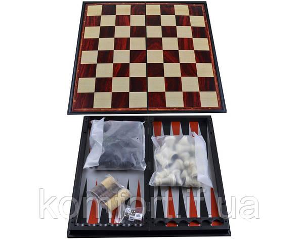 Набор 3в1 №37710 Нарды,Шахматы,Шашки 25х25 см (Магнитная доска), фото 2