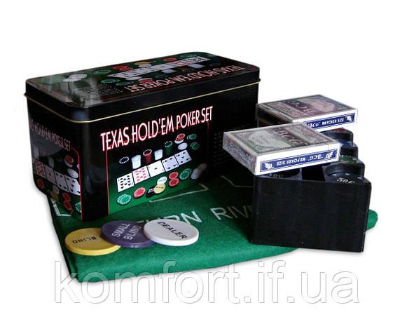 Покерний набір на 200 фішок з номіналом в металевій коробці «Техаський холдем» №200T, фото 2