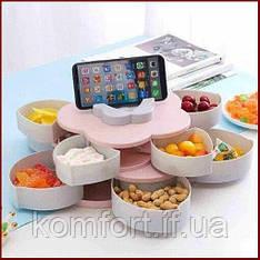 Вращающаяся тарелка для сладостей и сухофрутов, менажница в виде цветка на 5 секций, двухъярусная