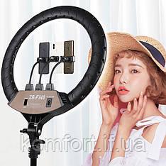 Кільцева LED лампа RING LIGHT ZB-F348 діаметром 45см з пультом і 3 власниками без штатива