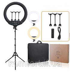 Профессиональная кольцевая LED лампа SLP-G500 с 3 держателями+пультом+чехол, диаметр 45 см 220V без штатива