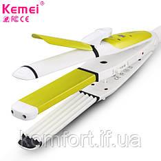 Kemei КМ-2208 для укладання волосся 3в1 плойка гофре утюжок