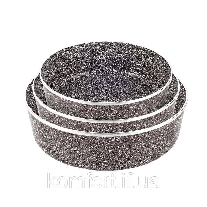 Набір противнів LEXICAL LG-640301-2 антипригарне гранітне покриття, 3шт 22/26/30см, Choco