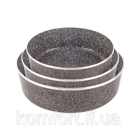 Набір противнів LEXICAL LG-640301-2 антипригарне гранітне покриття, 3шт 22/26/30см, Choco, фото 2