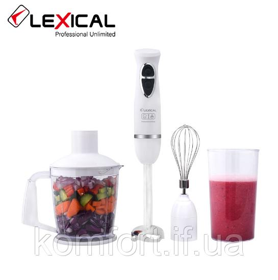Многофункциональный ручной блендер 4в1 LEXICAL LHB-1604, 500Вт, 2скорости, Венчик, измельчитель, стакан