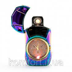 Електрична спіральна запальничка з годинником USB LIGHTER 813 + clock, акумуляторна запальничка