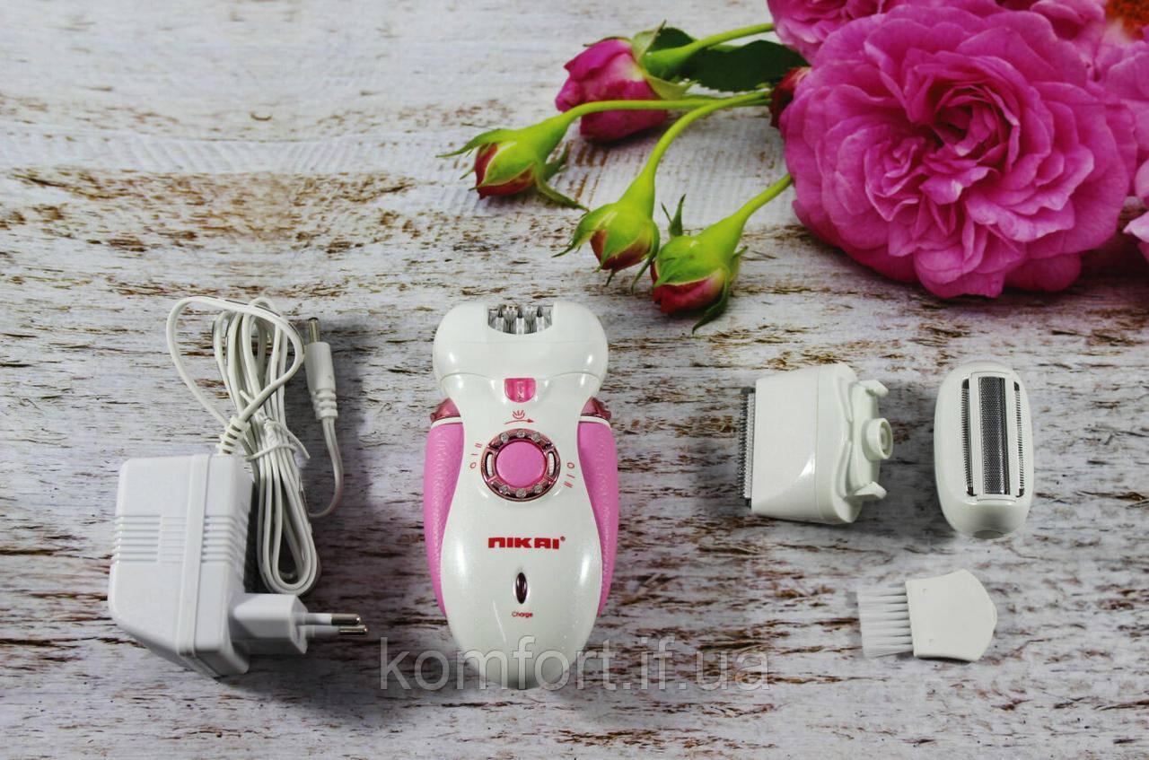 Женский эпилятор Nikai 7698 3 in 1 с 3 сменными насадками и фонариком