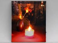 Картина с подсветкой / Гвоздика / Свеча 30x25x1 см