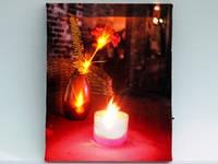 Картина с подсветкой / Гвоздика / Свеча 25x20x1 см