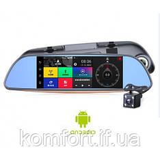 "Зеркало регистратор, 7"" сенсор, 2 камеры, Sim карта, GPS навигатор, WiFI, Android"