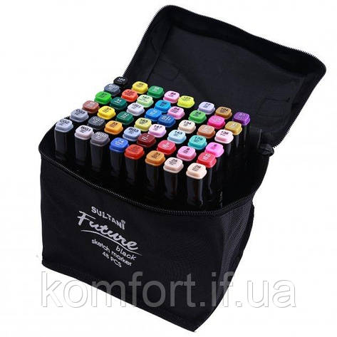 Набір скетч маркерів для малювання Touch Sketch 48 шт двосторонні фломастери чорний корпус, фото 2