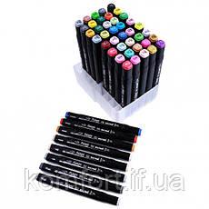 Набір скетч маркерів для малювання Touch Sketch 48 шт двосторонні фломастери чорний корпус, фото 3