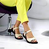 Стильные кожаные бежевые женские босоножки на шлейке натуральная кожа, фото 4