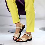 Стильные кожаные бежевые женские босоножки на шлейке натуральная кожа, фото 5