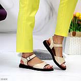 Стильные кожаные бежевые женские босоножки на шлейке натуральная кожа, фото 7