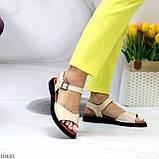 Стильные кожаные бежевые женские босоножки на шлейке натуральная кожа, фото 8