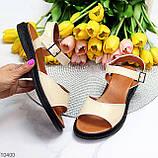 Стильные кожаные бежевые женские босоножки на шлейке натуральная кожа, фото 9