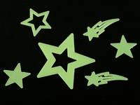 Наклейки фосфорицирующие / Пластик / Звёзды и комета / Small / 6 шт 8x8 см