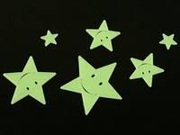 Наклейки фосфорицирующие / Пластик / Звёзды-смайлики / Small / 6 шт 7x7 см