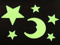 Наклейки фосфорицирующие / Пластик / Месяц и звёзды / Small / 6 шт 8x6 см