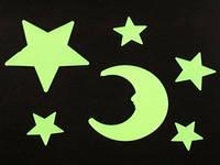 Месяц и звёзды / Small / 6 шт / Наклейки фосфорицирующие Пластик 8x6 см