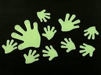 Наклейки фосфорицирующие / Пластик / Рука / Big / 10 шт 10x10 см