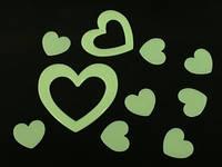 Наклейки фосфорицирующие / Пластик / Сердечки / Big / 10 шт 10x8 см