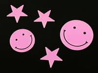 Смайлик и звёзды / Small / 5 шт / Наклейки фосфорицирующие Пластик 5x5 см