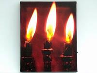 Картина с подсветкой / Три свечи 25x20x1 см
