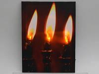 Картина с подсветкой / Три свечи 40x30x1 см