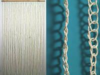 Занавеска на дверь / Природные материалы / Веревка / Кольца / Белый 185x90 см