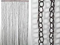 Занавеска на дверь / Природные материалы / Веревка / Кольца / Коричневый 185x90 см