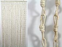 Занавеска на дверь / Природные материалы / Солома / Крупные Узлы / Светлый 185x90 см