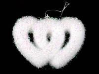 Два сердечка Белый / Новогодняя  подвеска 11x8x2 см