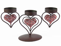 Подсвечник / Вечер / Три Сердца / 3 стакана / 3 свечи 24x16x10 см